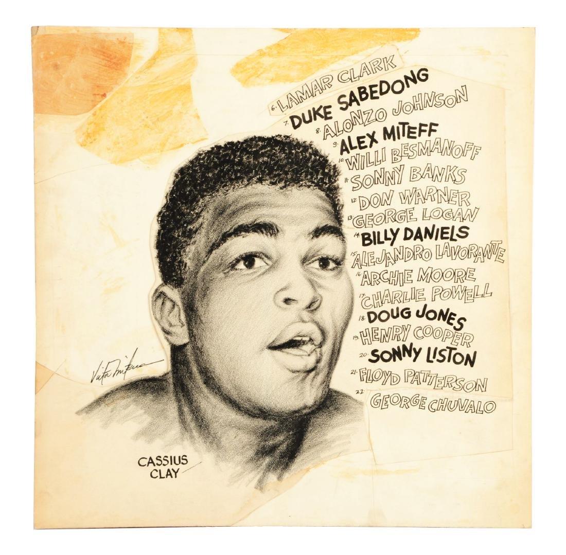 Cassius Clay Original Newspaper Art.