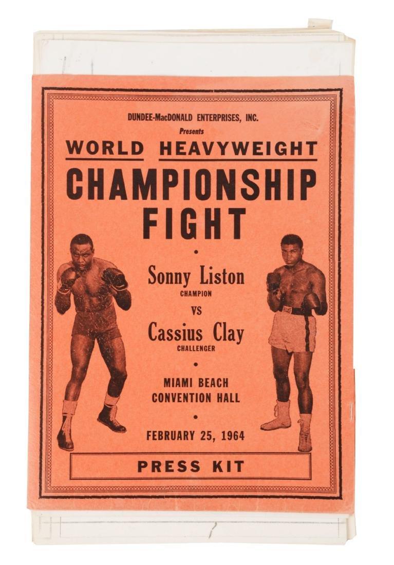 Very scarce Sonny Liston vs Cassius Clay Press Kit from