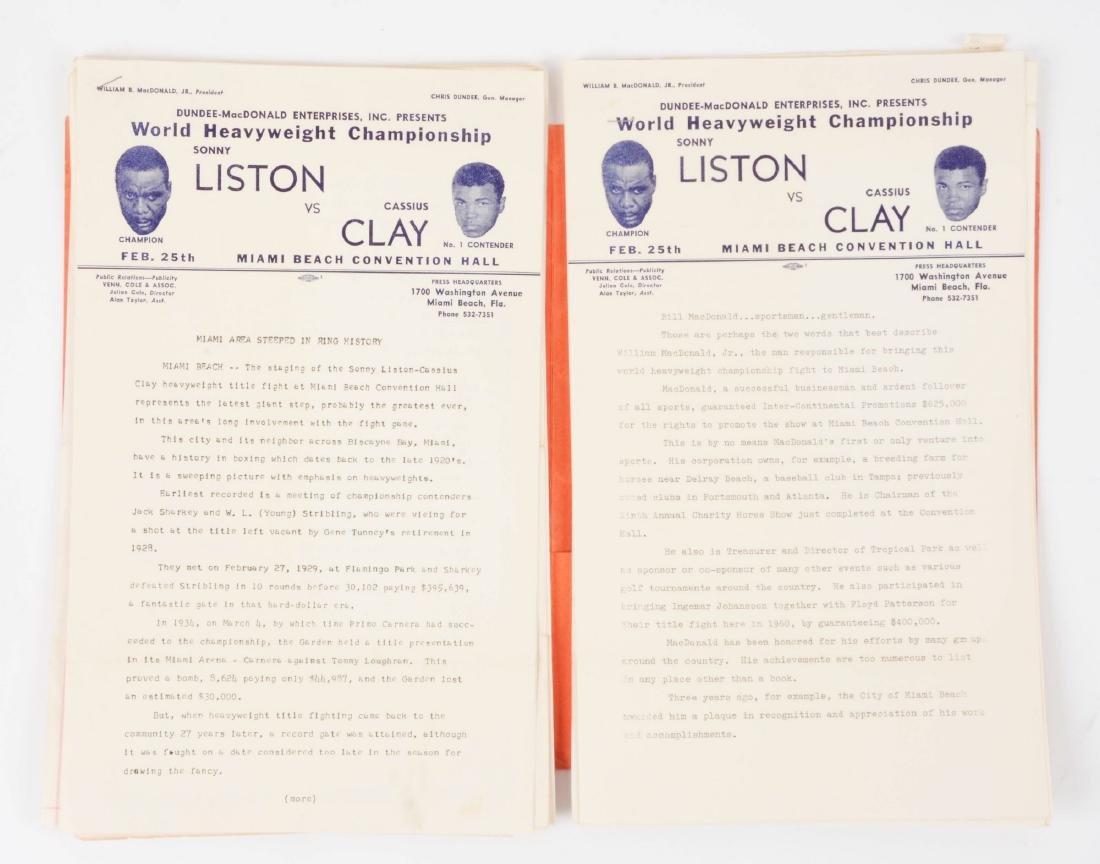 Very scarce Sonny Liston vs Cassius Clay Press Kit from - 5