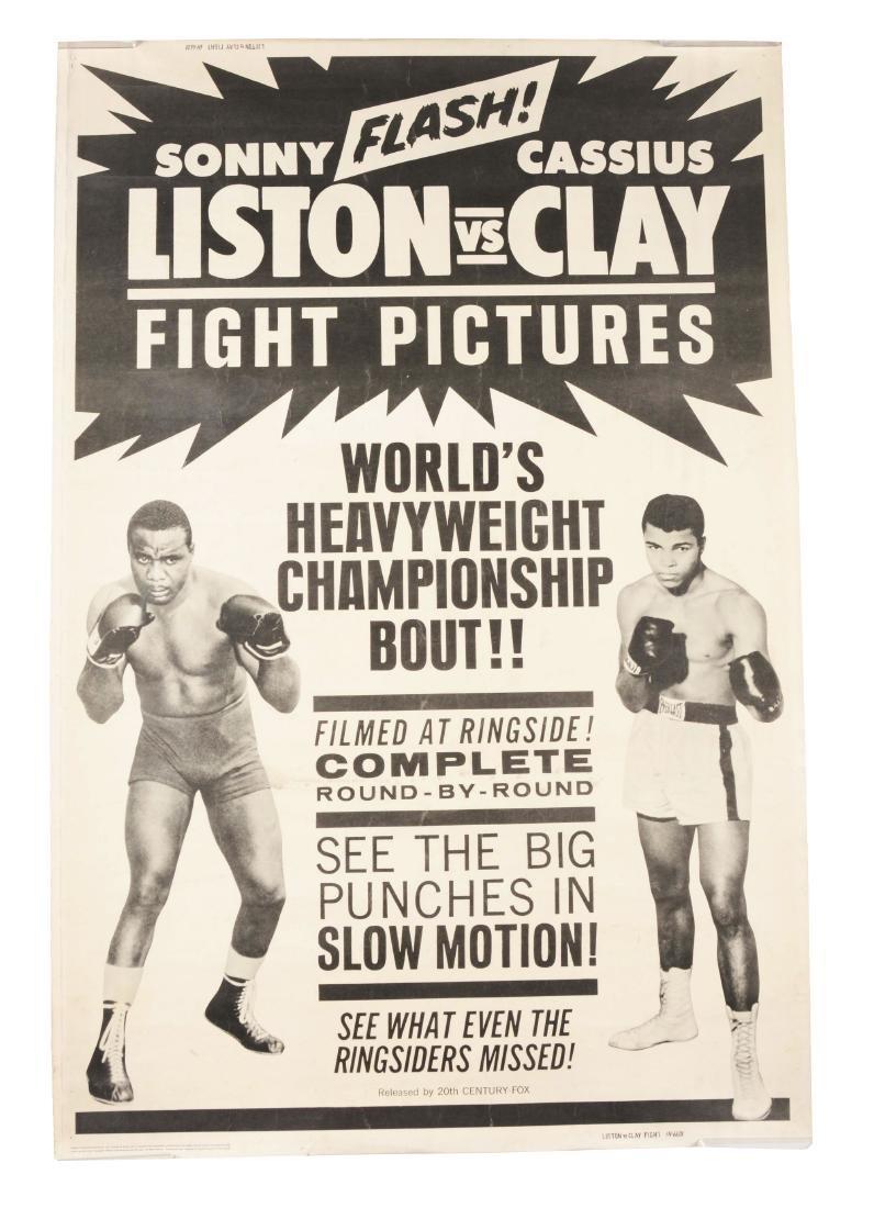 Cassius Clay vs Sonny Liston Fight Film Poster.