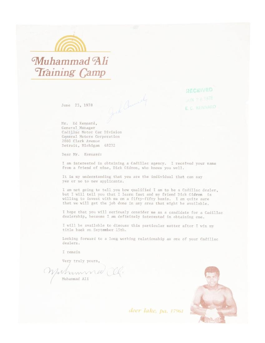 Muhammad Ali Applies To Be Cadillac Dealer Signed