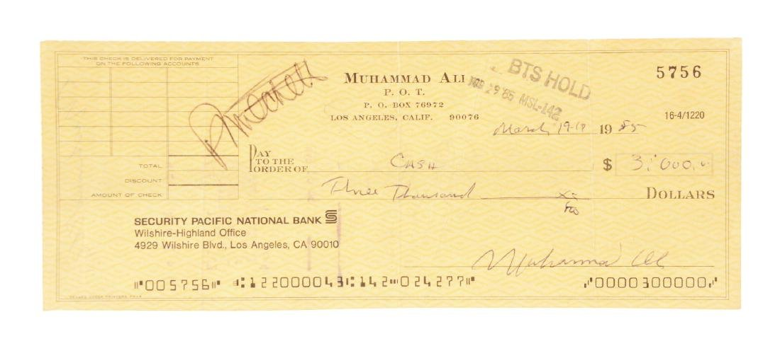 Muhammad Ali Dual Signed Check.