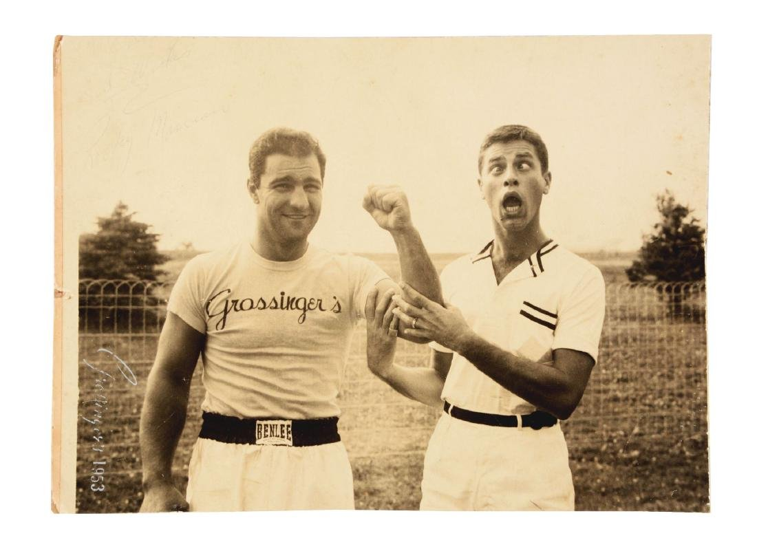 Rocky Marciano Signed Photograph with Jerry Lewis.