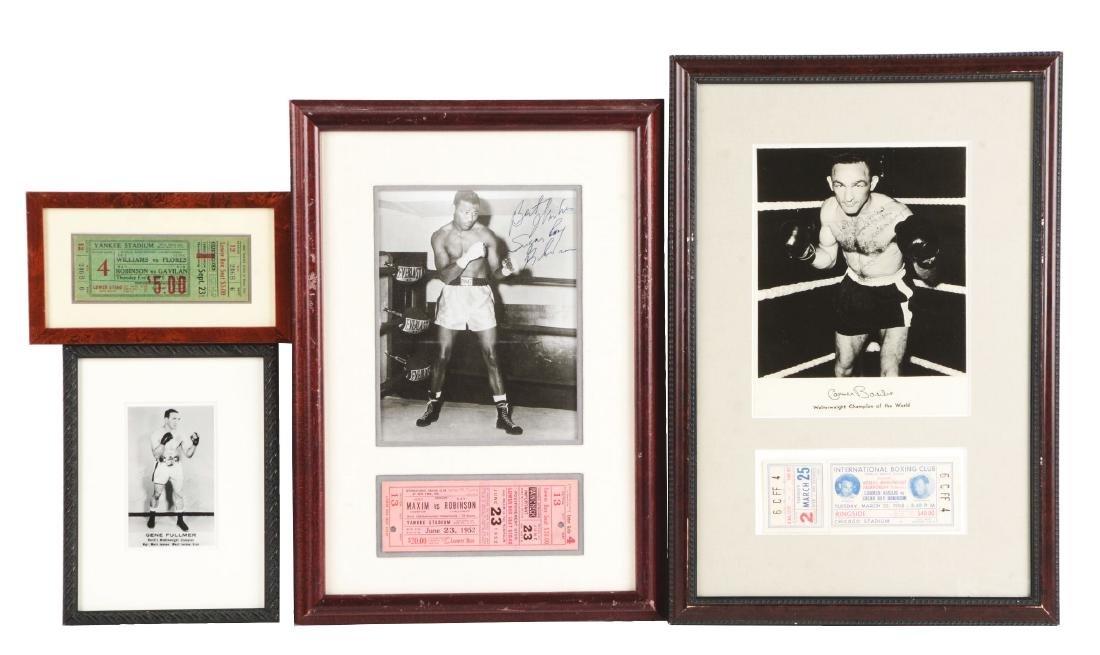 Lot of 4: Framed Sugar Ray Robinson Boxing Memorabilia.