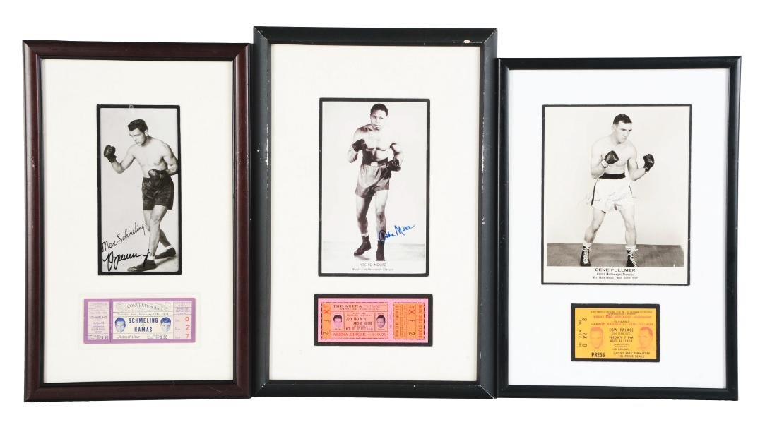 Lot of 9: Framed Boxing Tickets & Photo Memorabilia.