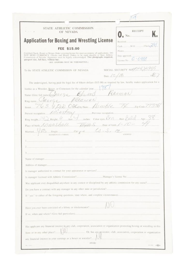 1987 George Foreman Signed Nevada Boxing Application.