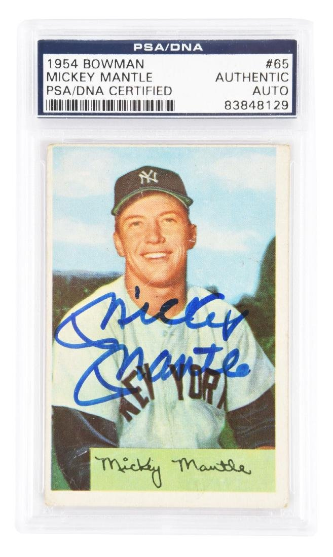 1954 Bowman #65 Mickey Mantle Signed (PSA/DNA).
