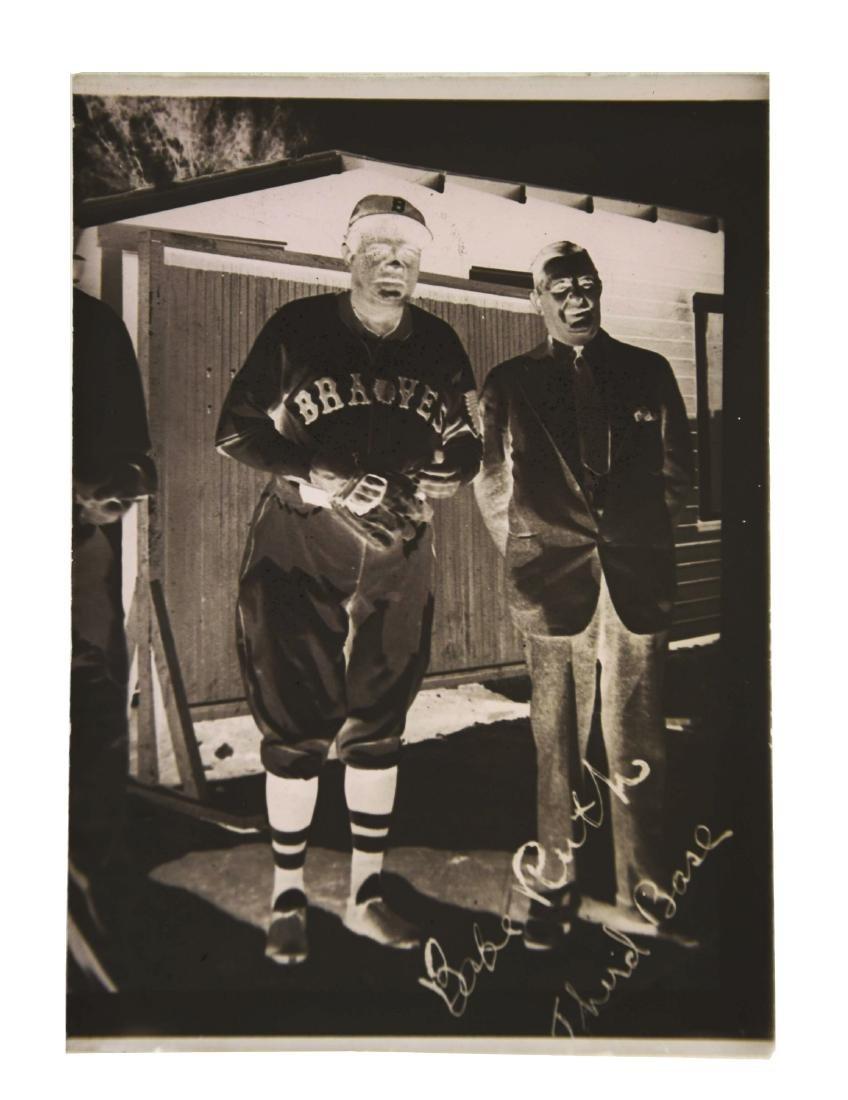 Babe Ruth 1935 Boston Braves Glass Negative.