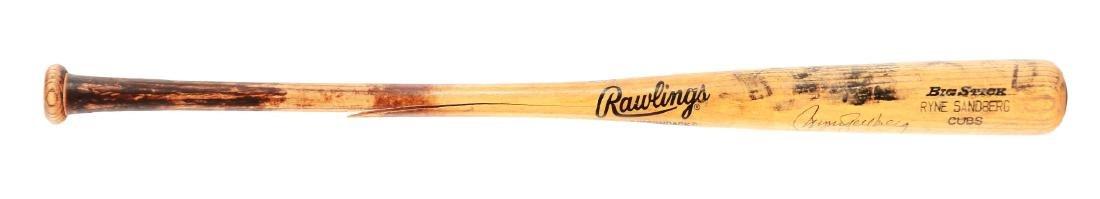 Ryne Sandberg Signed Game Used Bat Heavy Use.