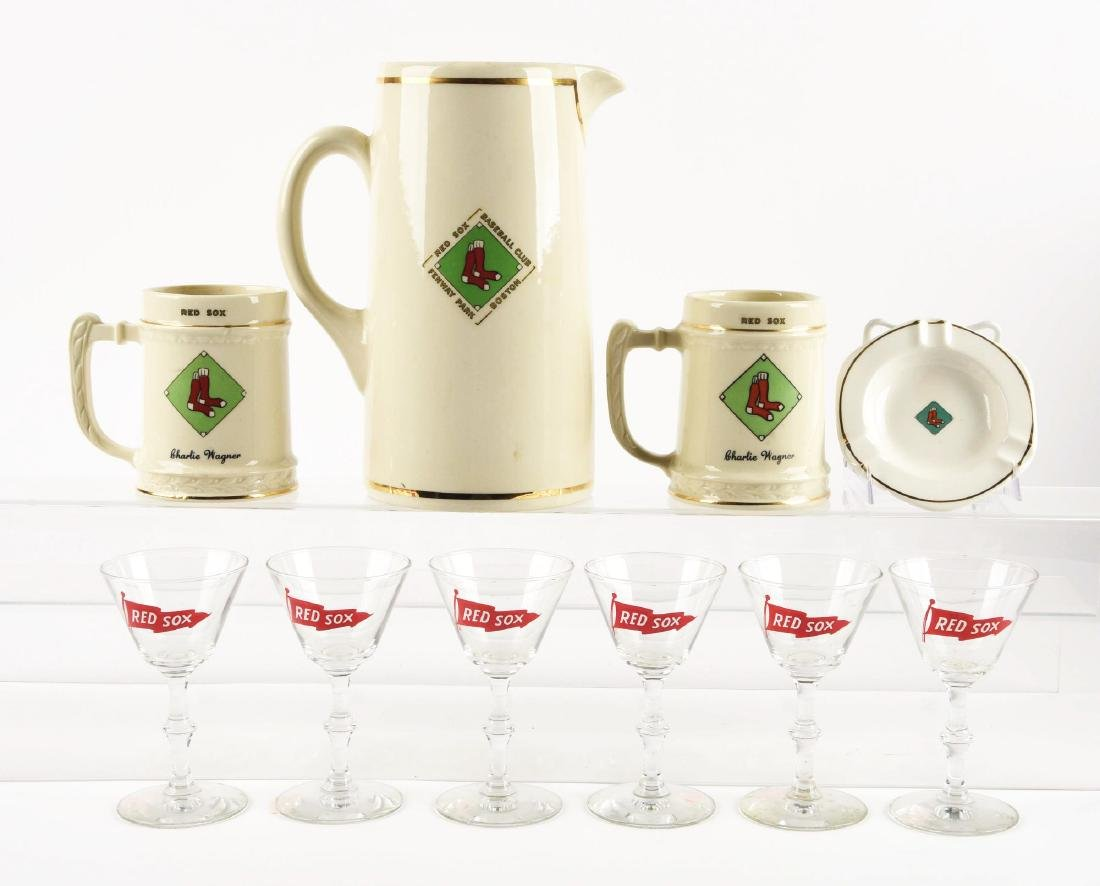 Lot Of 10: Boston Red Sox Ceramic & Glass Kitchenwear.