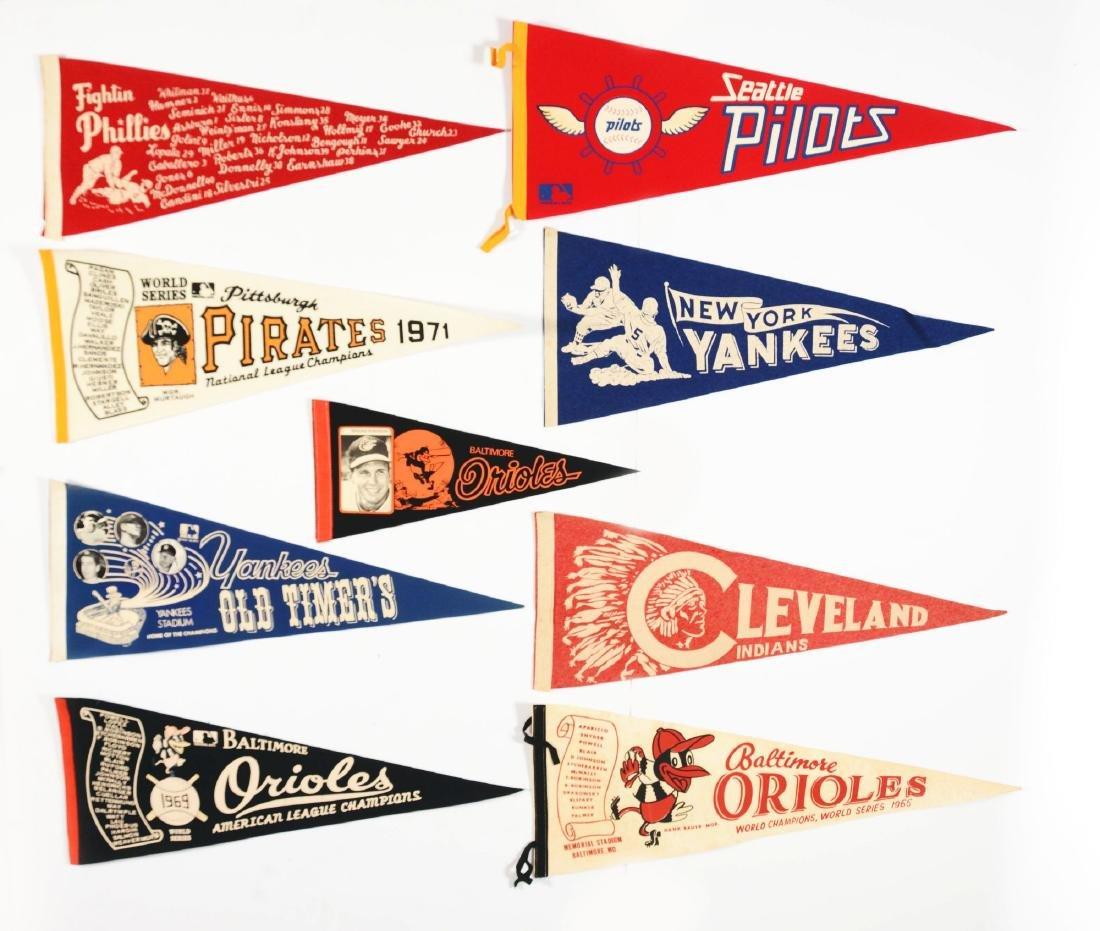 Large Lot of 50+: Major League Baseball Pennants.