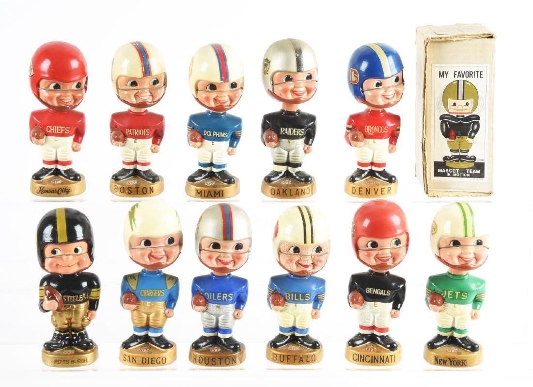Lot Of 11: AFL & NFL Boy Face Bobbin Head Dolls.