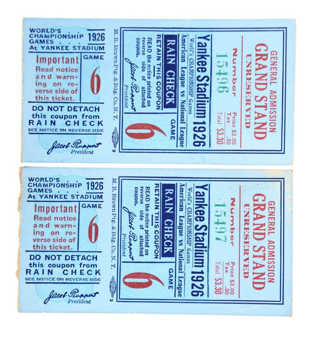 Lot of 2: 1926 New Yankees World Series Ticket Stubs.