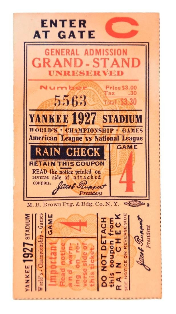 1927 World Series Game 4 Ticket Stub Yankees Clinch