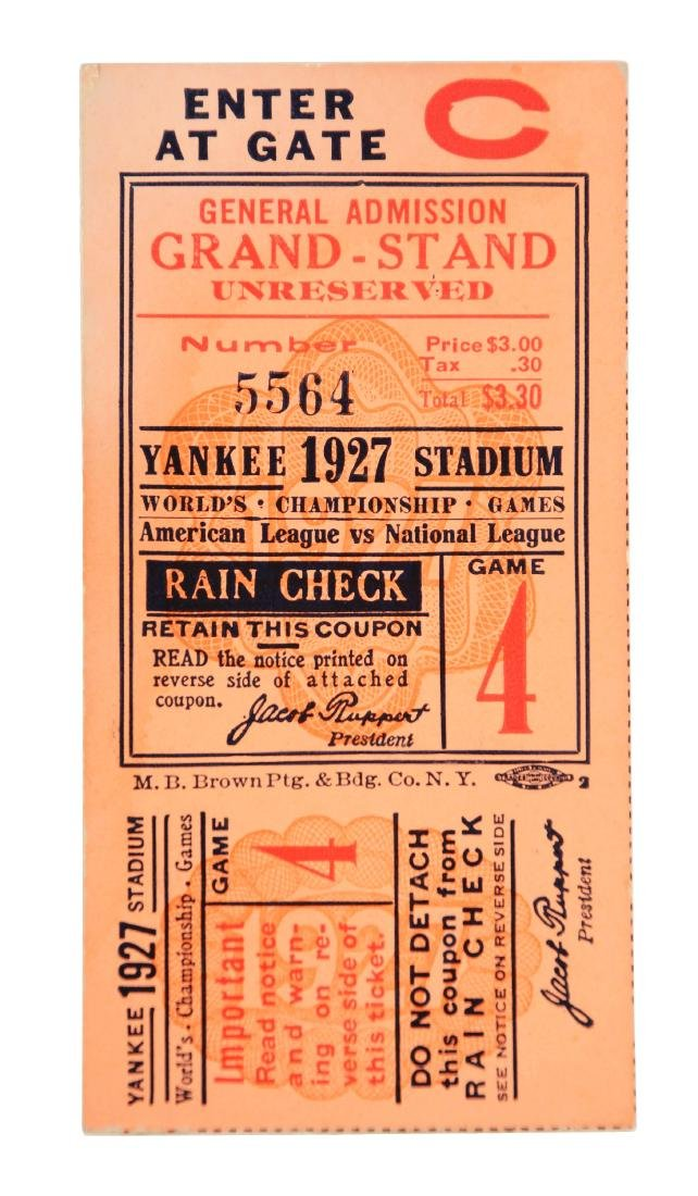 1927 World Series Game 4 Ticket Stub Yankees Clinch,