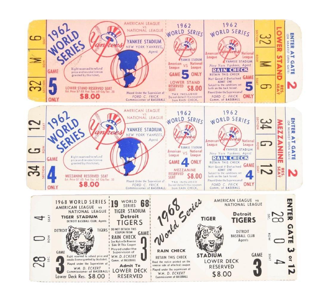 Lot of 3: 1962 & 1968 World Series Full Tickets.
