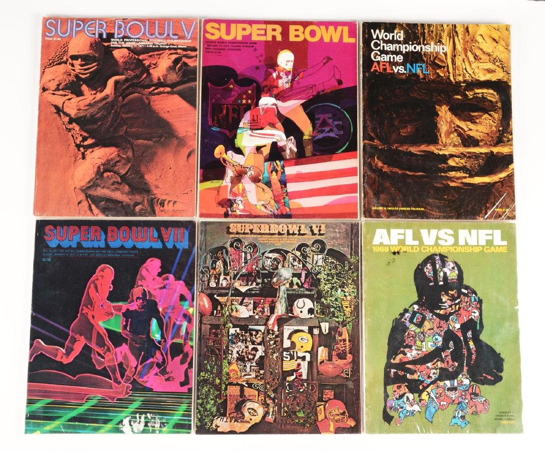 Lot of 6: World Championship and Super Bowl Programs.
