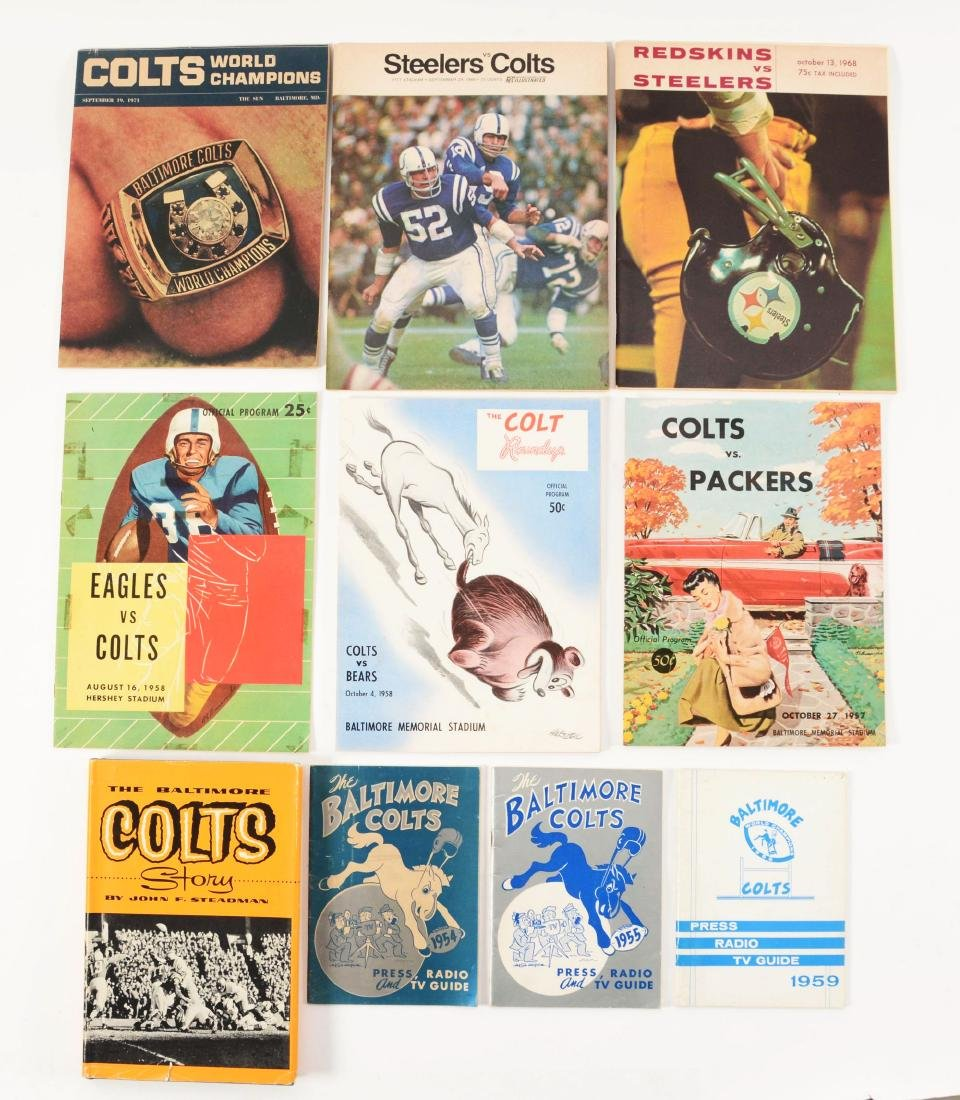 Large Lot of Baltimore Colts Press Guides and Game