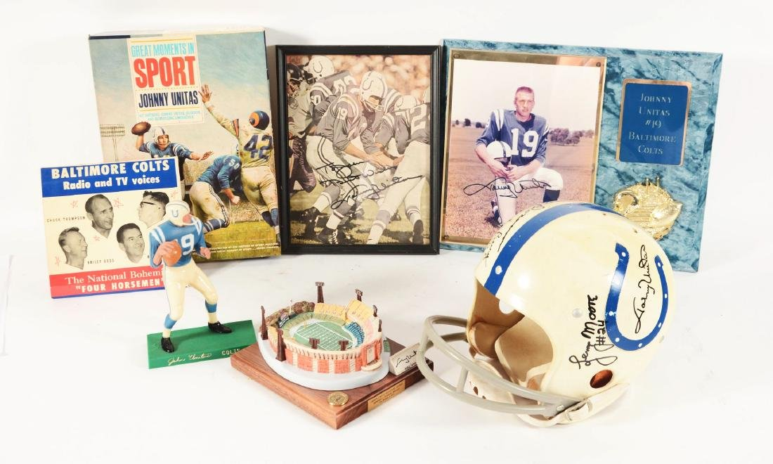 Lot Of 8: Vintage & Contemporary Johnny Unitas Items.