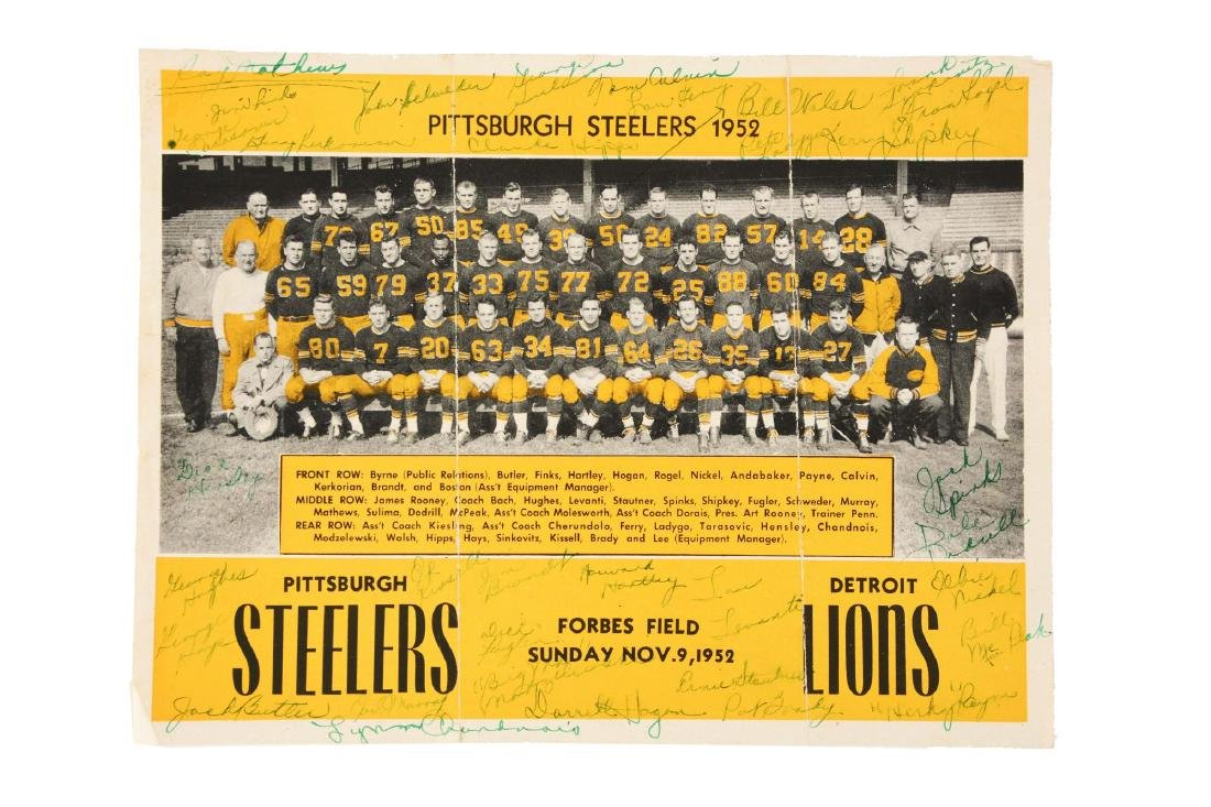1952 Pittsburgh Steelers Signed Photograph.
