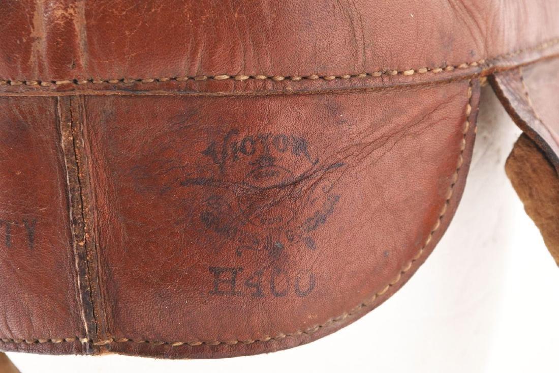 Wright & Ditson Dog Ear Leather Football Helmet. - 4