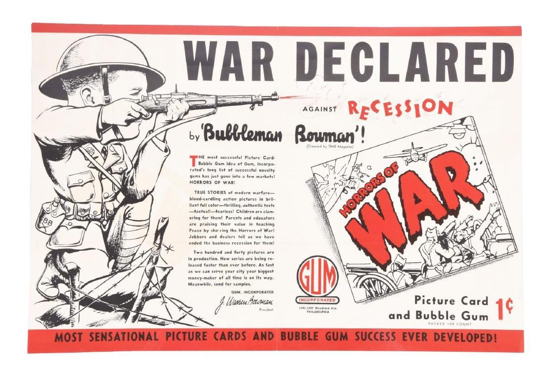 1938 Gum Inc. Horrors of War Poster/Mailer.