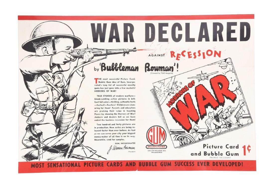 1938 Gum Inc. Horrors of War Advertising Mailer Poster.