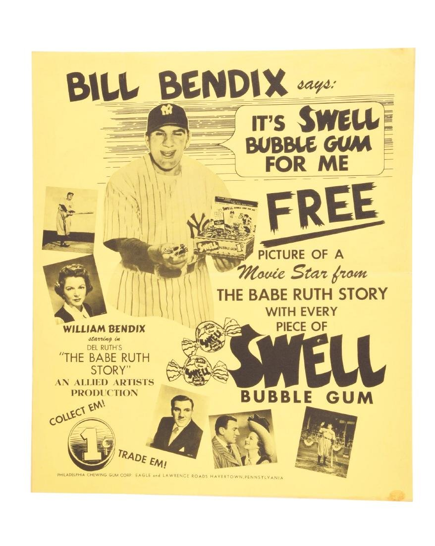 1948 Swell Gum Babe Ruth Story Poster New Discovery.