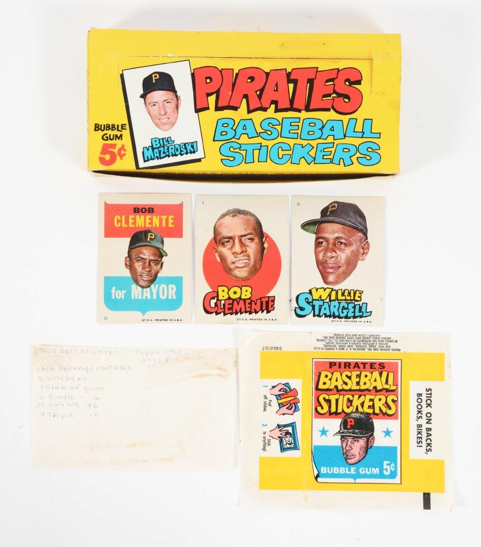 1967 Topps Pittsburgh Pirates Test Box & Stickers.