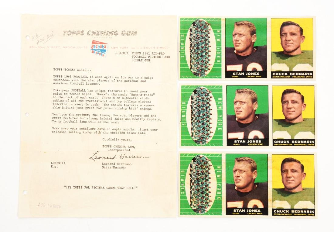 1961 Topps Football Sample Panels and Introduction