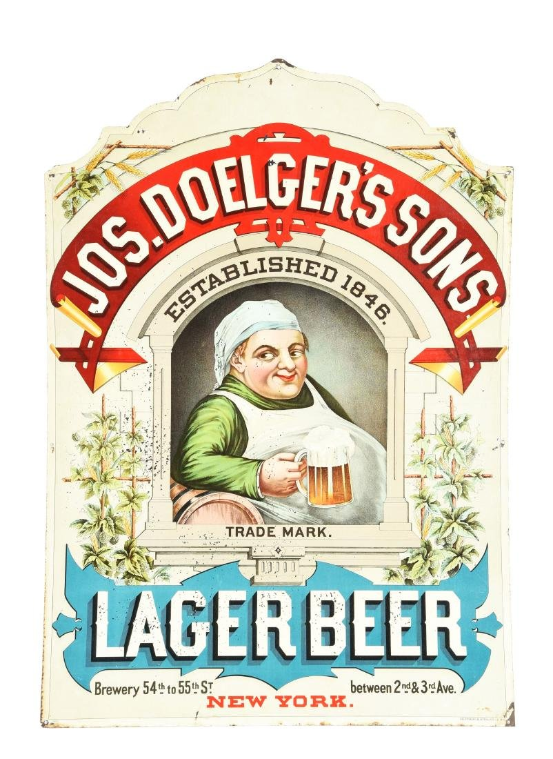 Jos. Doelger's & Sons Lager Beer Tin Sign.