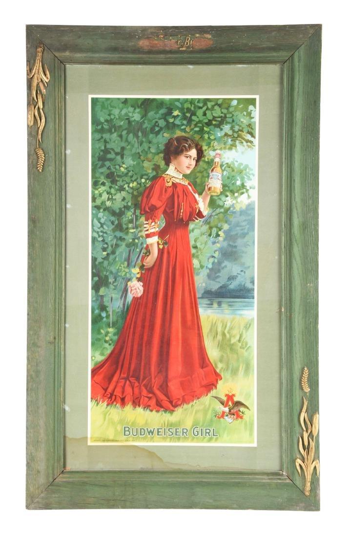 1907 Budweiser Girl Advertising Sign.