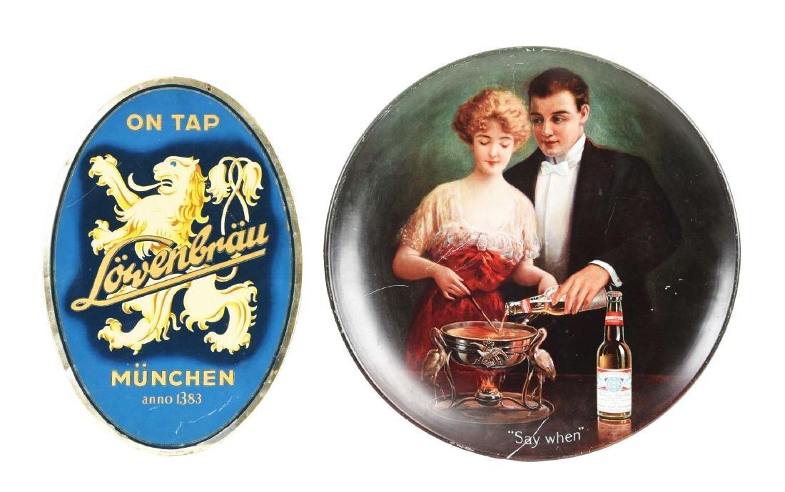 Lot Of 2: Budweiser Advertising Charger & Tin Lowenbrau
