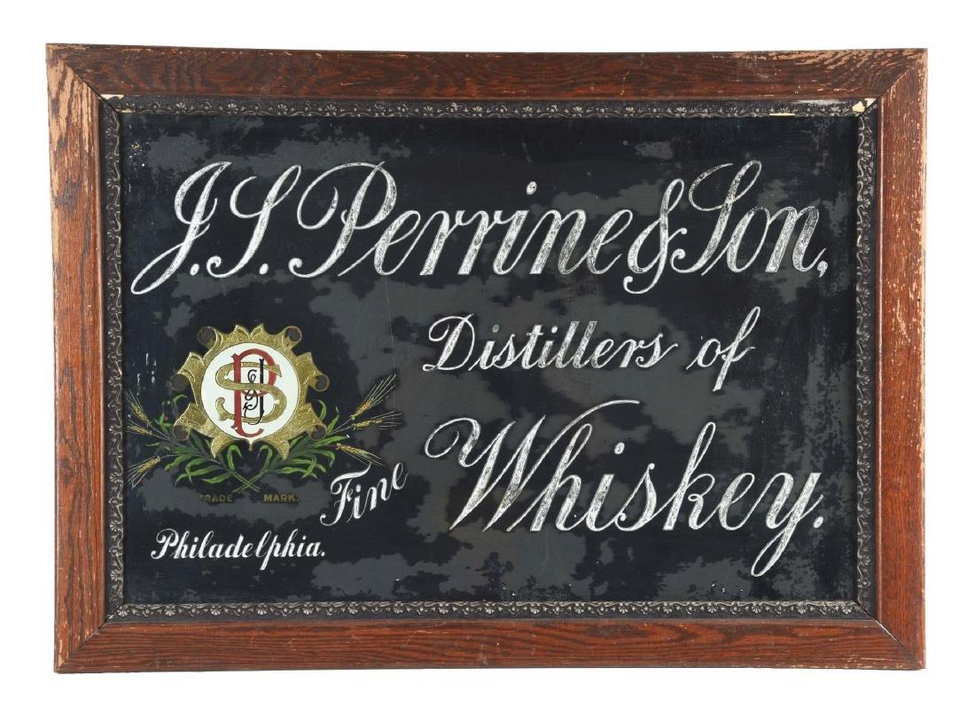 J. L. Perrine & Son Whiskey Reverse Glass Advertising
