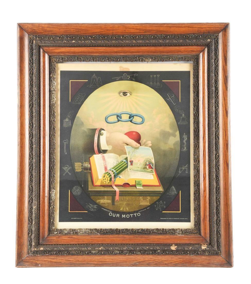 1883 Odd Fellows Print with Heart & Hand.