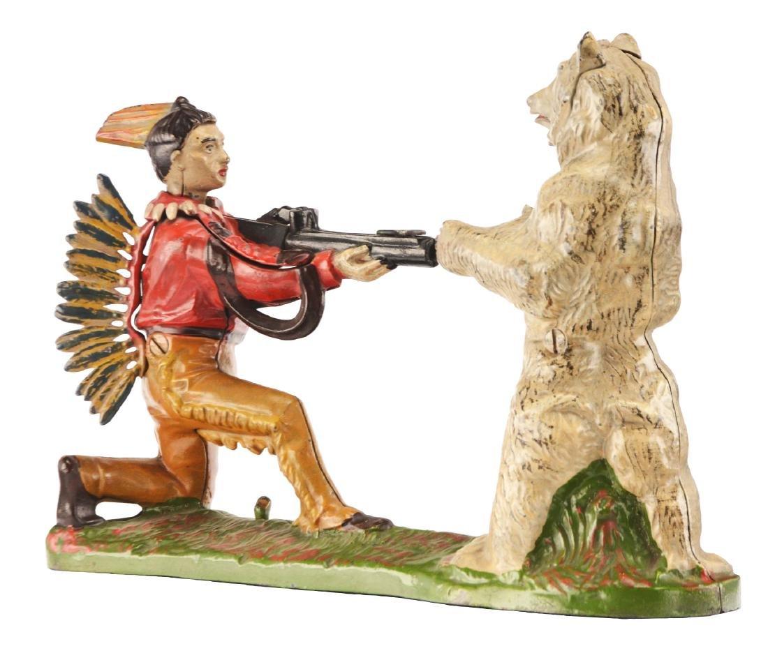 Cast Iron Indian Shooting Bear Mechanical Bank.