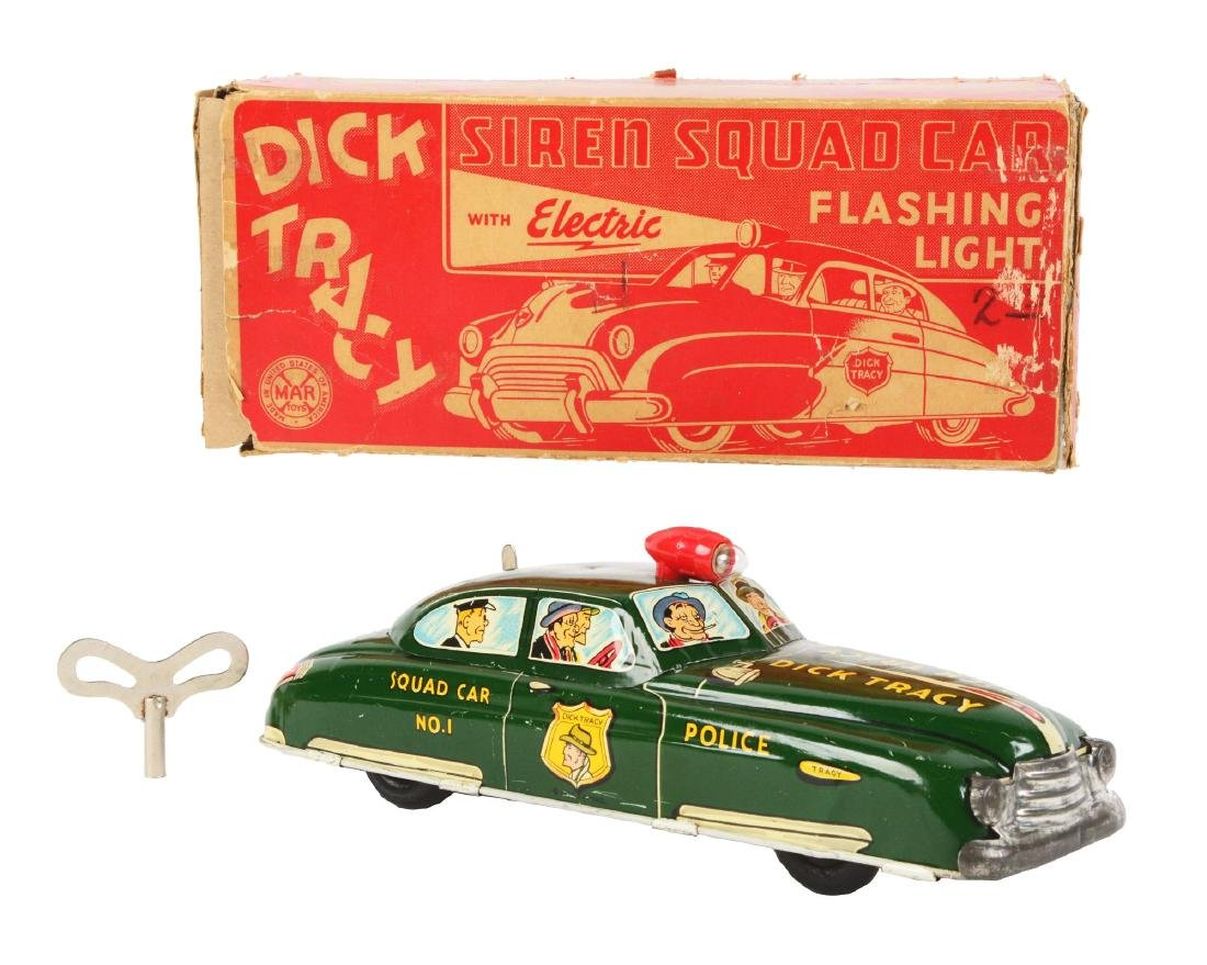 Marx Tin Litho Wind Up Dick Tracy Siren Squad Car.