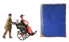 German Lehmann Tin Flywheel Man Going to The Fair Toy