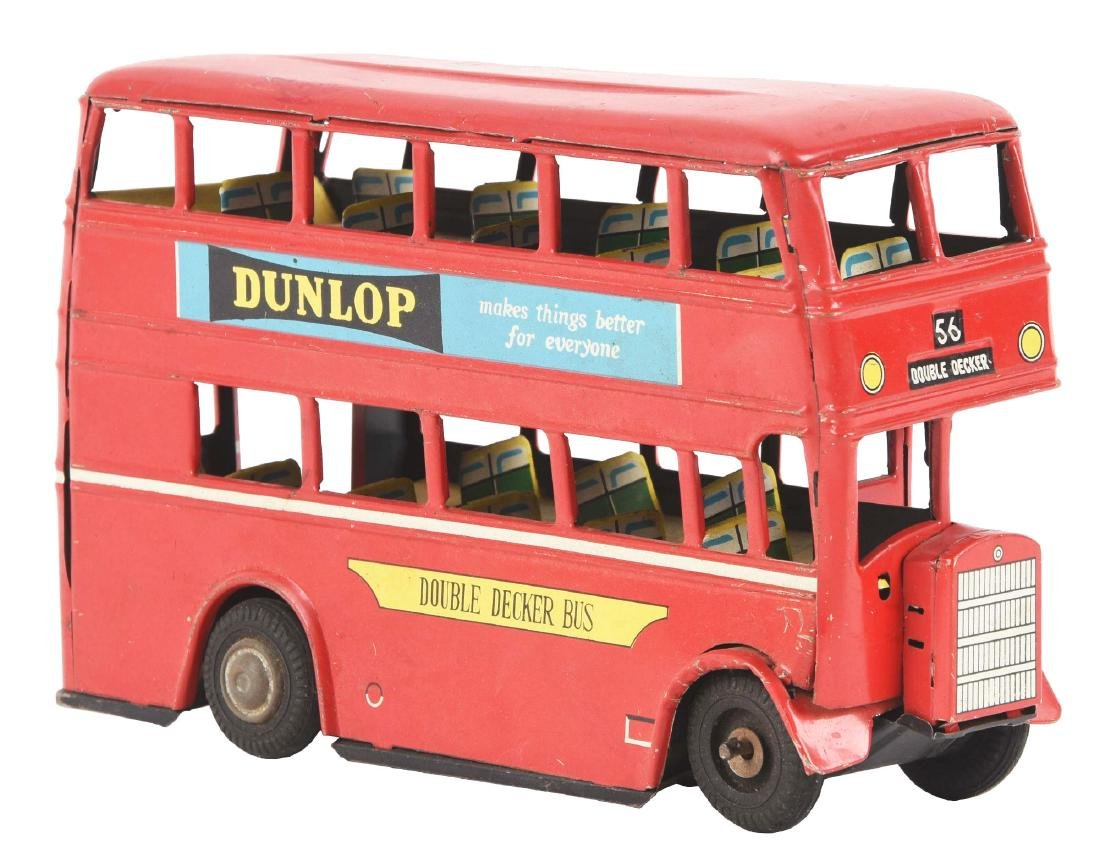 Japanese Tin Friction Double Decker Bus.