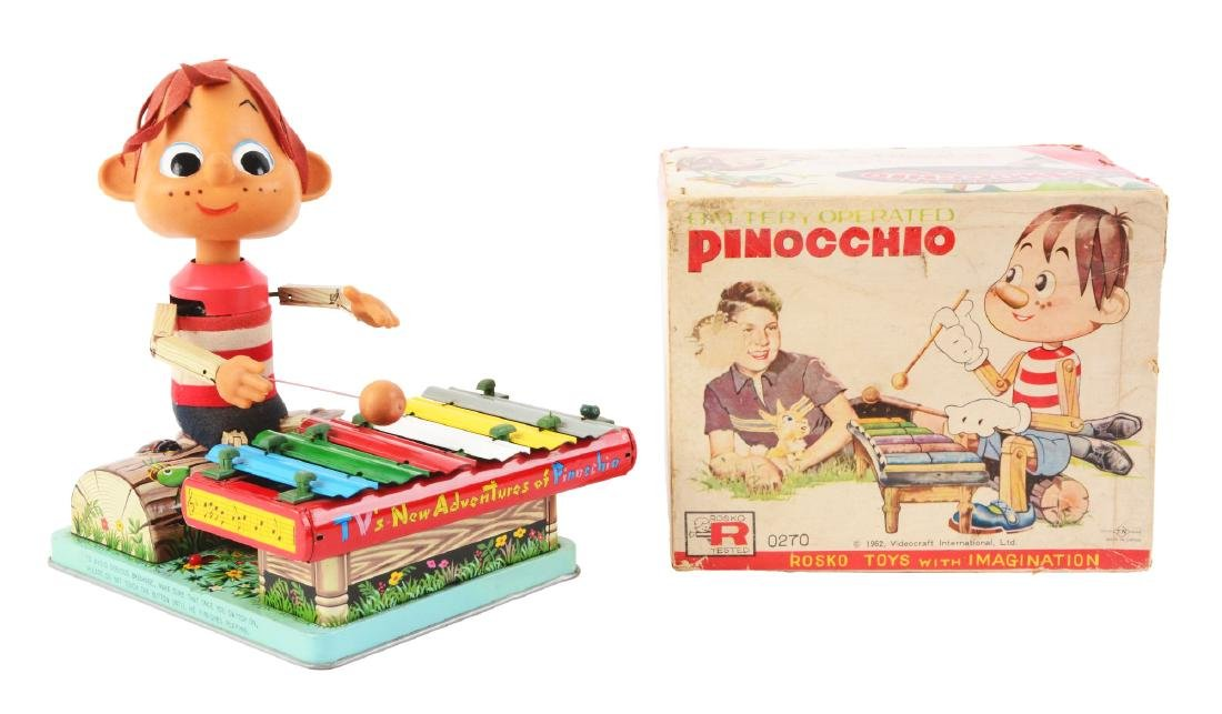 Japanese Battery Operated Pinocchio Xylophone Player.