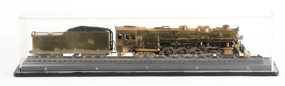 Brass Steam Locomotive in Display Case.