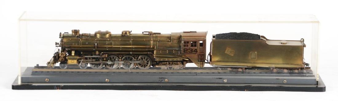 Brass Steam Locomotive in Display Case. - 2