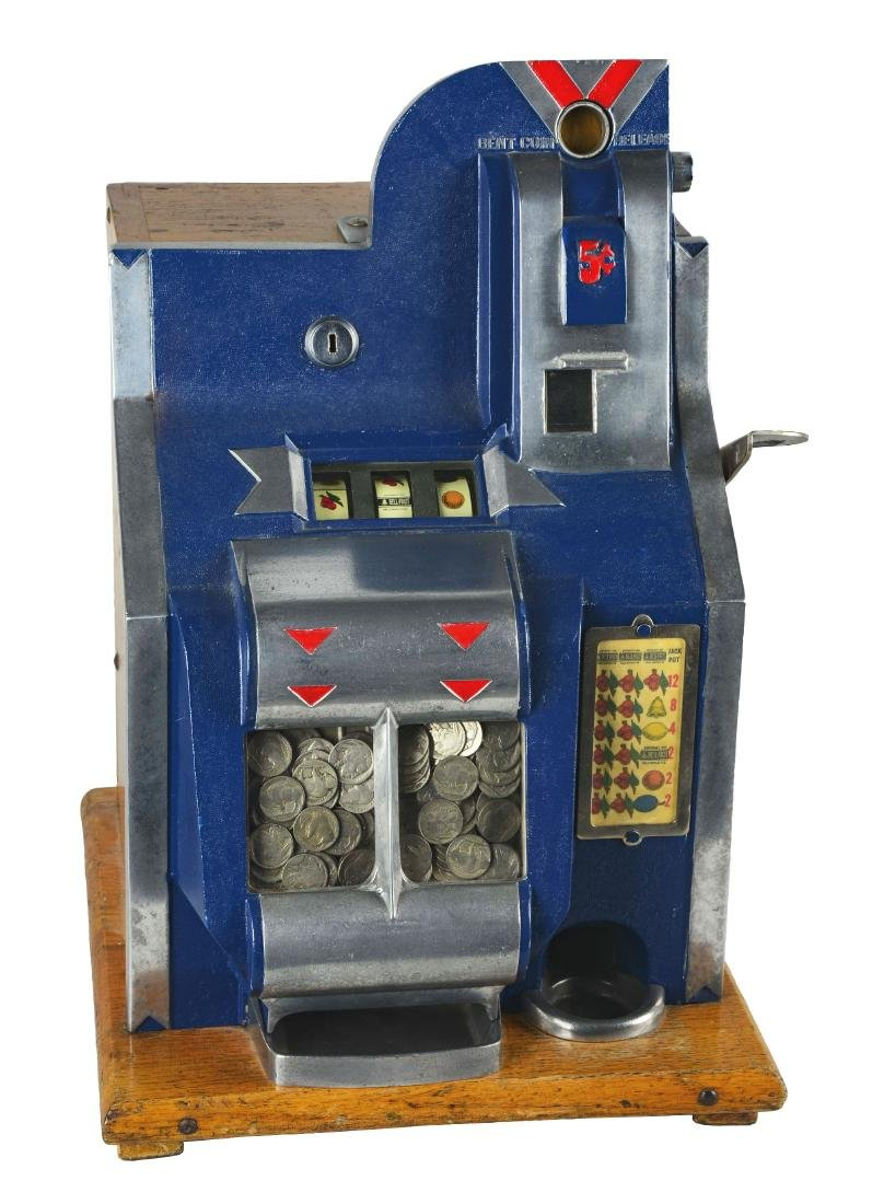 **5¢ Mills QT Chevron Miniature Bell Slot Machine.