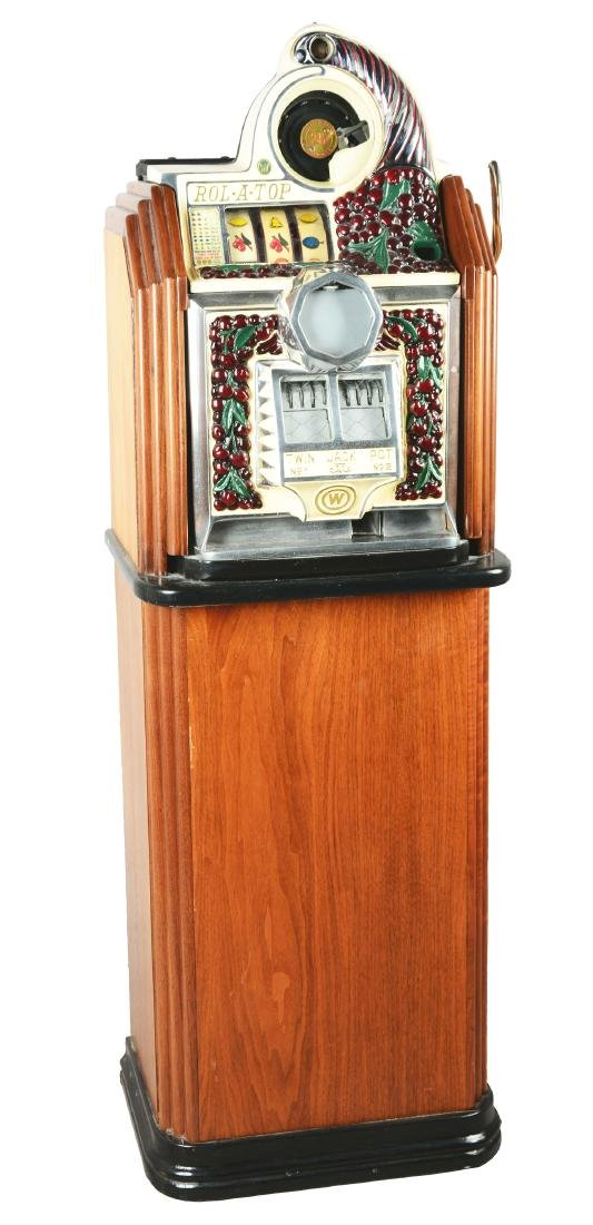 **25¢ Watling Rol-A-Top Cherry Front Console Slot