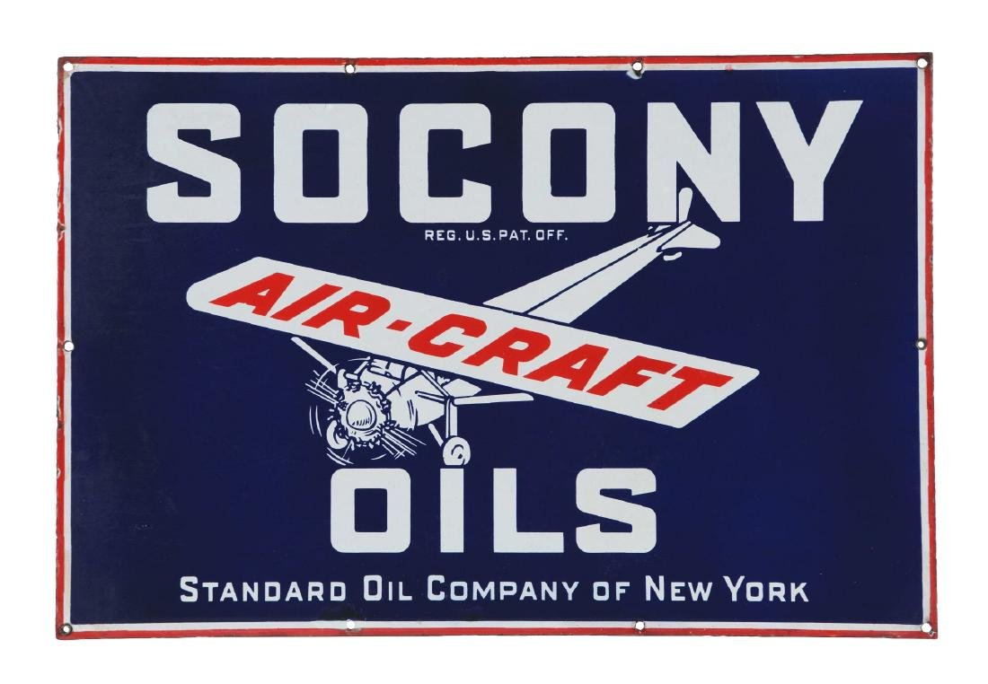 Socony Aircraft Oils Porcelain Sign with Airplane
