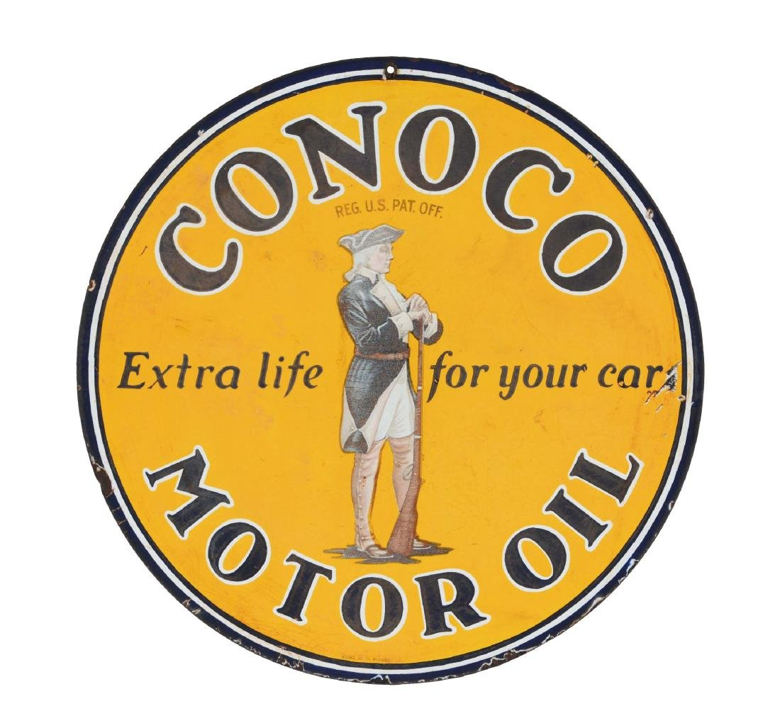 Conoco Motor Oil Porcelain Sign with Minuteman Graphic.