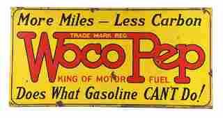 Pure Gasoline Woco Pep Motor Fuel Porcelain Sign.