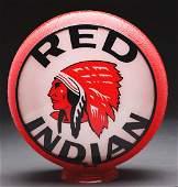 "Red Indian Gasoline Complete 13-1/2"" Globe On Original"