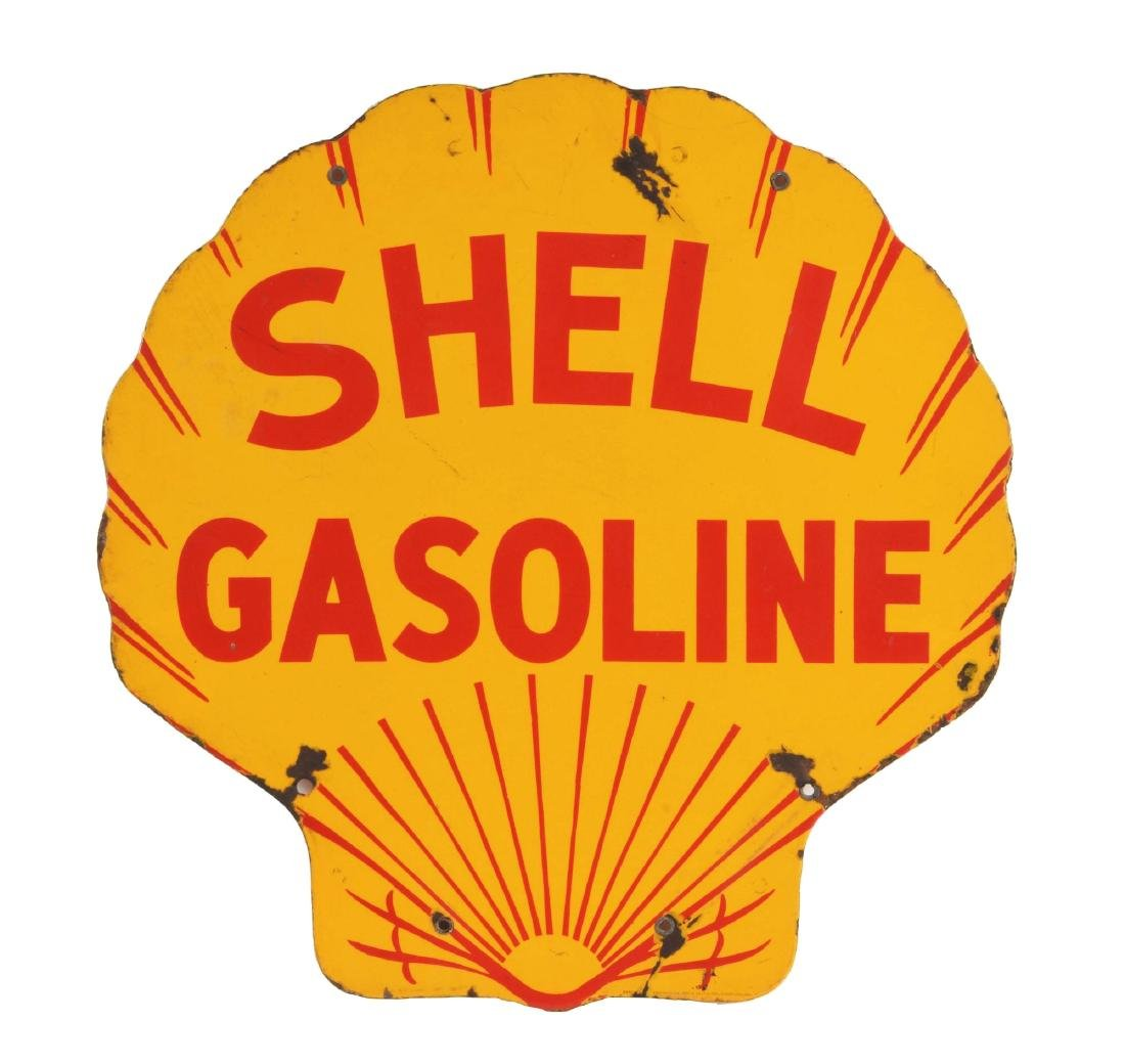 Shell Gasoline Porcelain Clamshell Curb Sign.