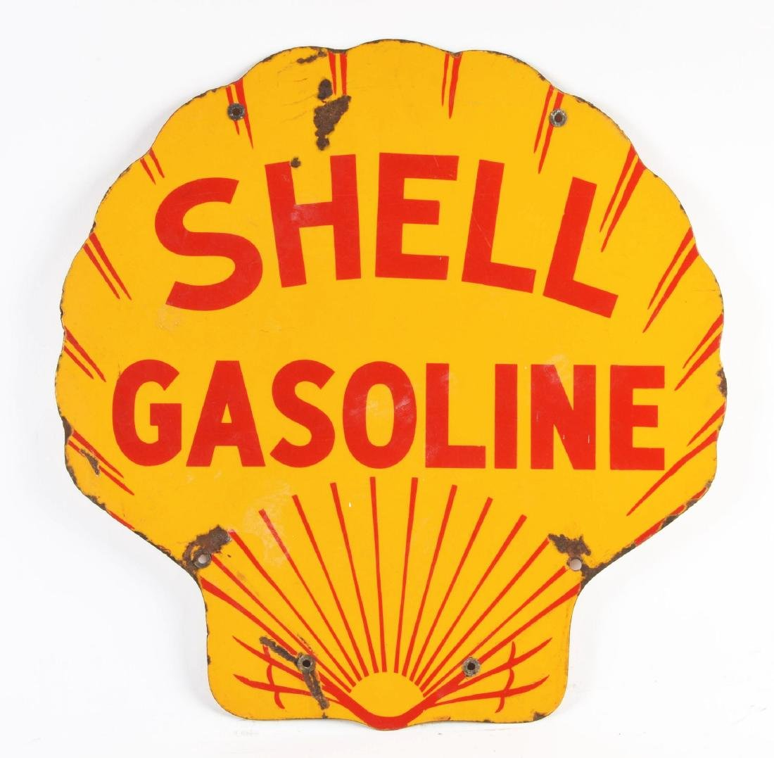 Shell Gasoline Porcelain Clamshell Curb Sign. - 3